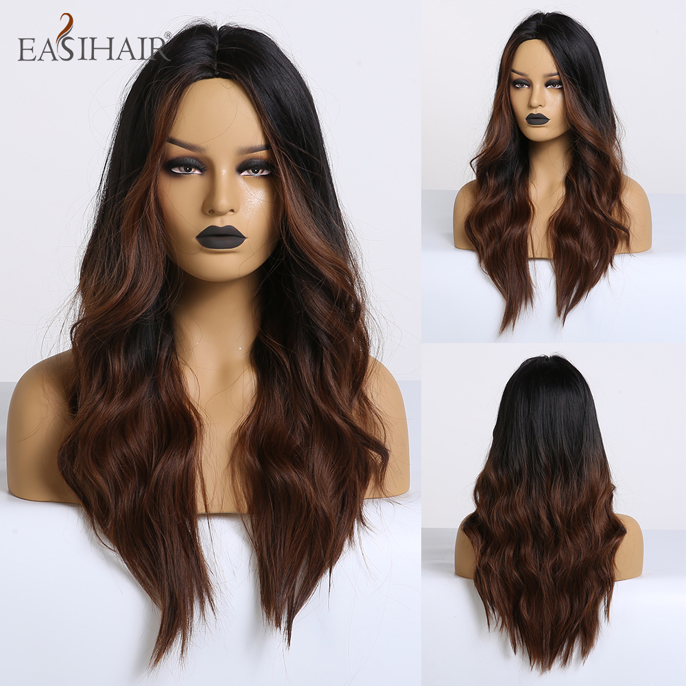 EASIHAIR Long Dark Brown Ombre Synthetic Wigs For Women Middle Part High Density Temperature Wavy Cosplay Wigs Heat Resistant