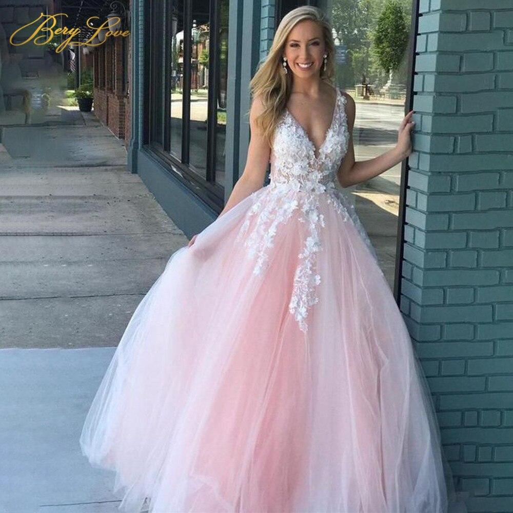 Pink Prom Dresses 2020 Long Candy Color V Neck Sleeveless Tulle Evening Dress Romantic Appliques Beading Robe De Soirée