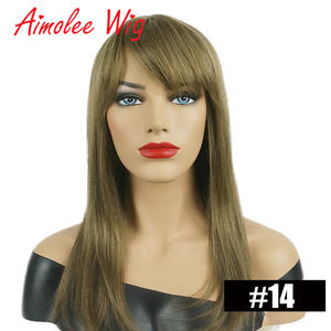 Hair-Wig Human-Hair Blend Long Straight with Bangs Blonde Dark Brown Highlight Synthetic