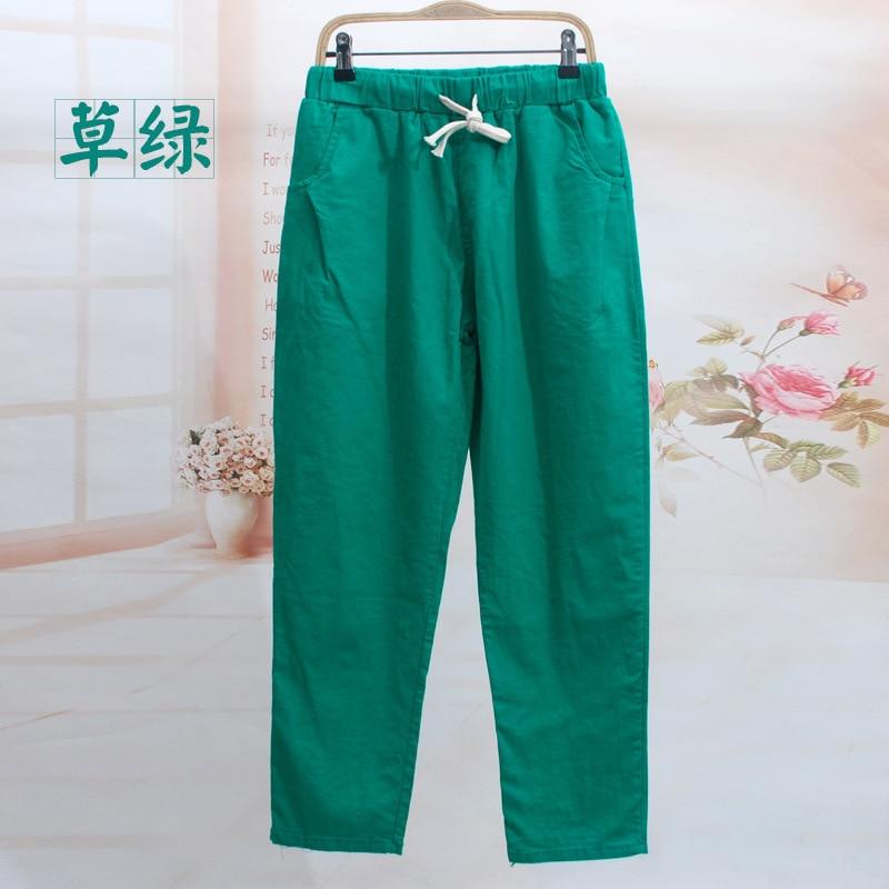 Oversized Trousers Pure Color Cotton Linen Pants Women's Loose Plus Size Summer Ankle Length Pants Female Pocket Casual Pants