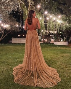 Image 4 - Lấp Lánh Sequin Hoa Hồng Vàng Dài Quần Sịp Đùi Thông Hơi 2020 Sexy Chân Váy Xòe Caro Hở Lưng Tiếng Ả Rập Váy Dạ Hội Nữ Dự Tiệc Trang Trọng Đầm