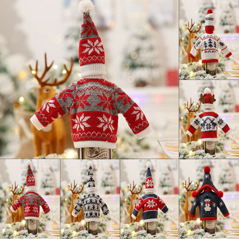 Newest Wine Bottle Covers Wrap Knitted Sweater Hat Christmas Holder Table Decor Set Xmas Knitted Sweater Wine Bottle Covers