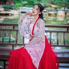 Disfraz de Baile Folclórico chino tradicional, vestido de hada Hanfu de la antigua diosa Han, rojo y blanco, 3 uds.