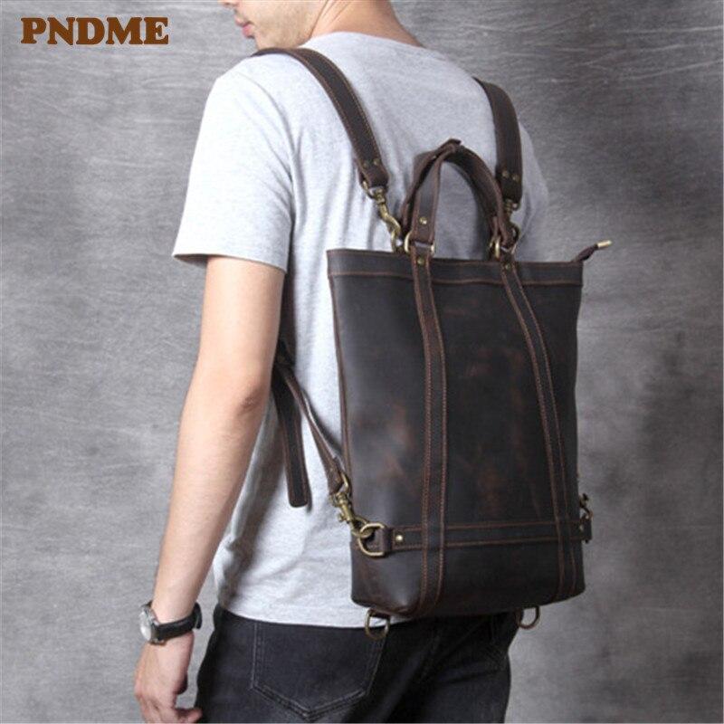 PNDME Simple Designer Genuine Leather Men's Women's Backpack Fashion Vintage High Quality Cowhide Multi-function Laptop Bagpack