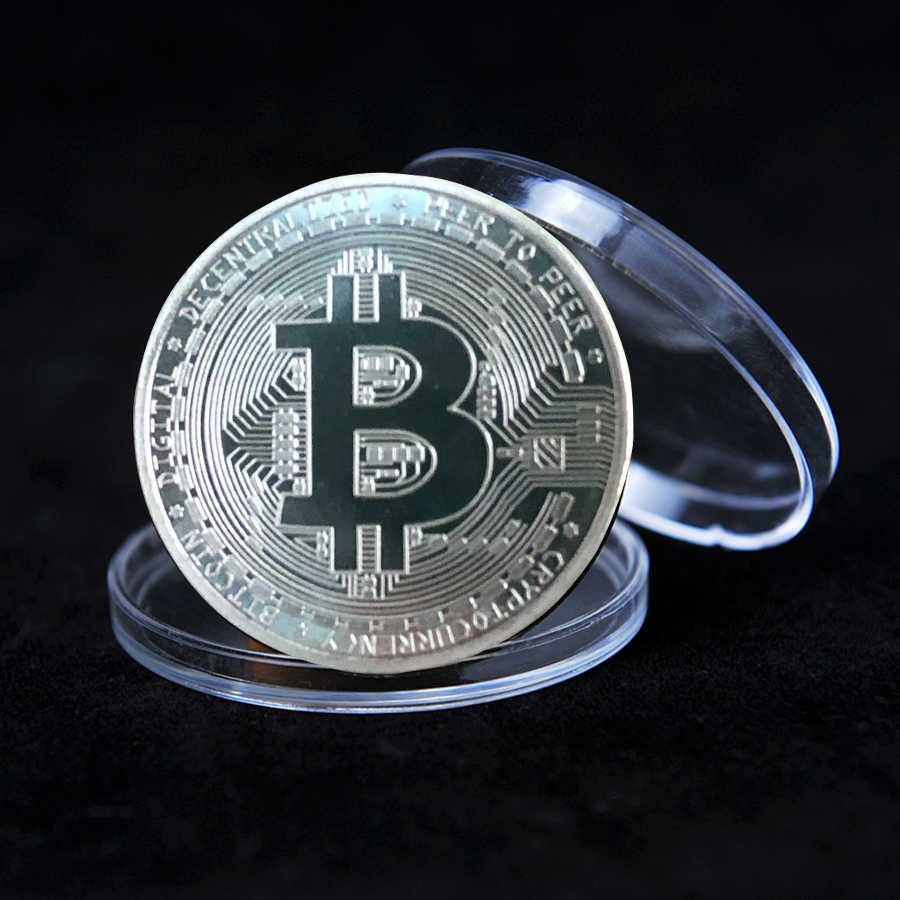 Souvenir Vergulde Bitcoin Munt Met Acryl Box Collectible Grote Gift Beetje Munt Collectible Metal Coin Herdenkingsmunt