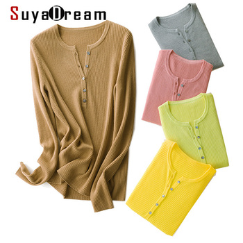 SuyaDream Women Wool sweaters 100%Wool O neck Pullovers Long Sleeve Solid Rib knits Sweaters 2020 Fall Winter Polo Shirt winter knits made easy