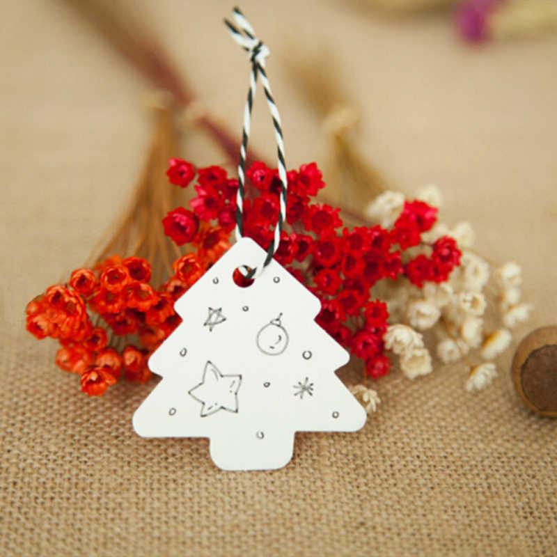 50 ชิ้น/เซ็ต DIY Kraft Christmas Tree Shape BLANK Hang Tag Christmas PARTY ตกแต่งกระดาษการ์ดของขวัญป้ายป้าย