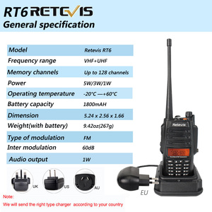Image 5 - 2 قطعة Retevis RT6 اسلكية تخاطب المزدوج الفرقة VHF UHF راديو FM راديو IP67 مقاوم للماء VOX SOS إنذار محطة راديو هام المهنية