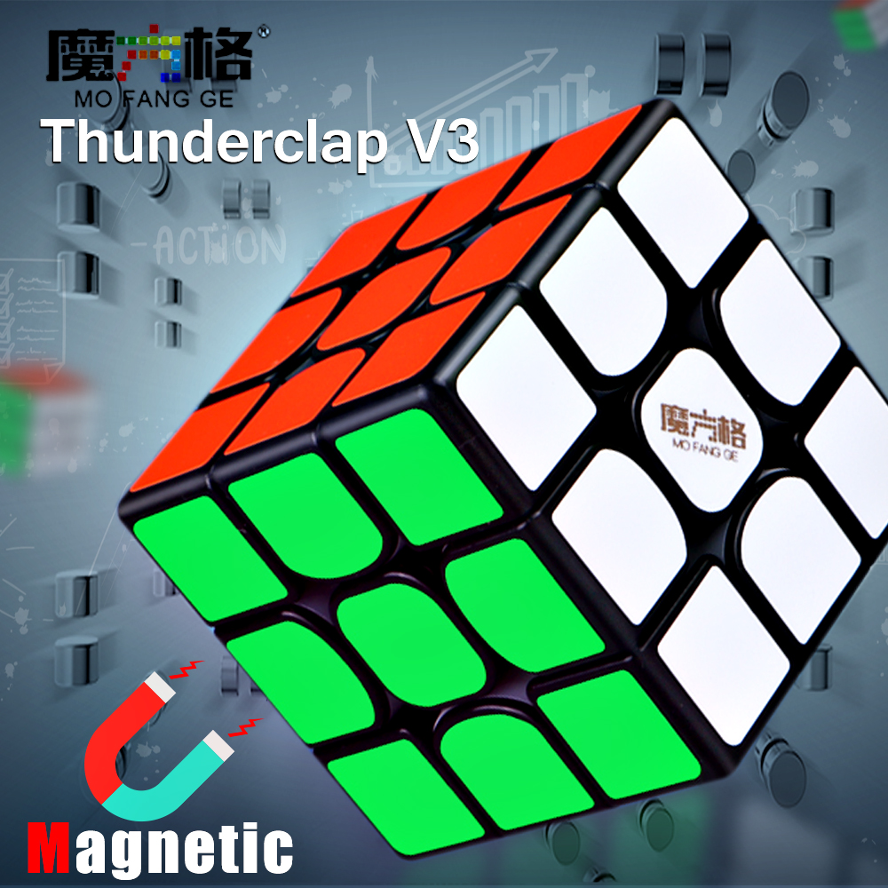 QiYi MoFangGe Thunderclap V3 M 3x3x3 Magnetic Magic Cube Stickerless Cube Puzzle Professional Magnets 3x3 Speed Cube