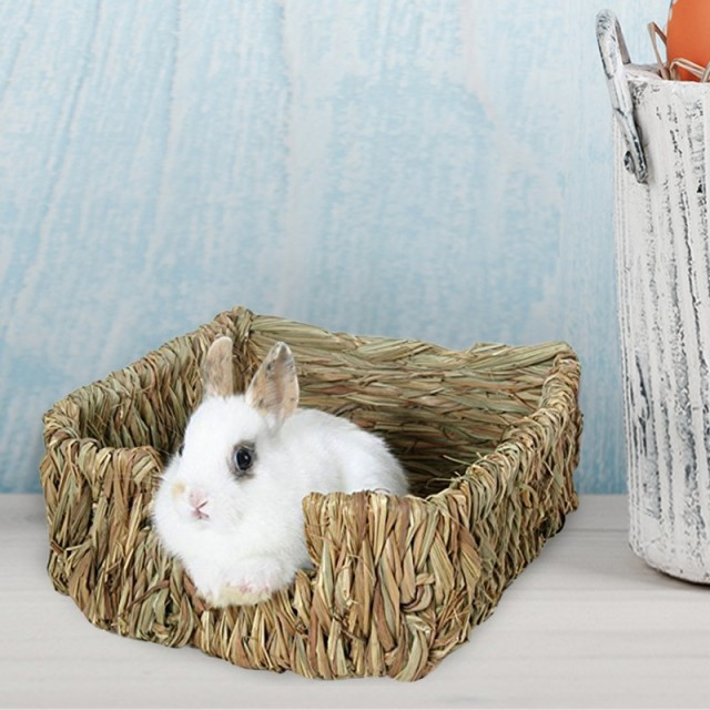 23*18*8.5cm Natural Bed and Grass Nest for Guinea Pigs Chinchillas and Rabbits Small Pets Hamster Chew Toys Mice Bed 5
