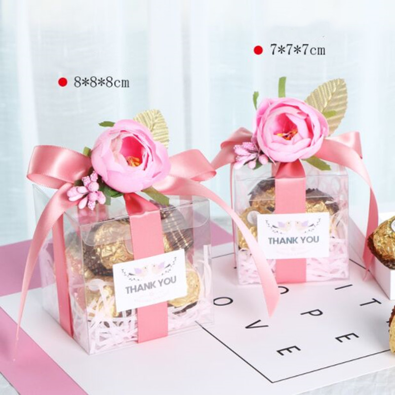 7x7x7cm /8x8x8cm DIY New 10pcs Pink Color Flower Wedding Packaging Box Personality Handmade Custom European Creative Candy Boxes
