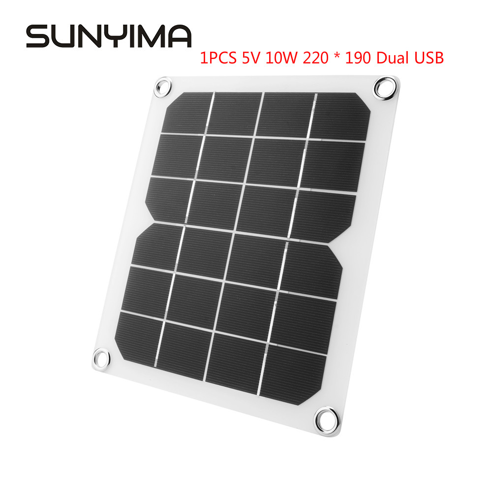 SUNYIMA 1PCS 5V 10W 220 * 190 Solar Panel Flexible Solar Panel Solar Battery Charger Power Bank DIY Photovoltaic Panel for Phone