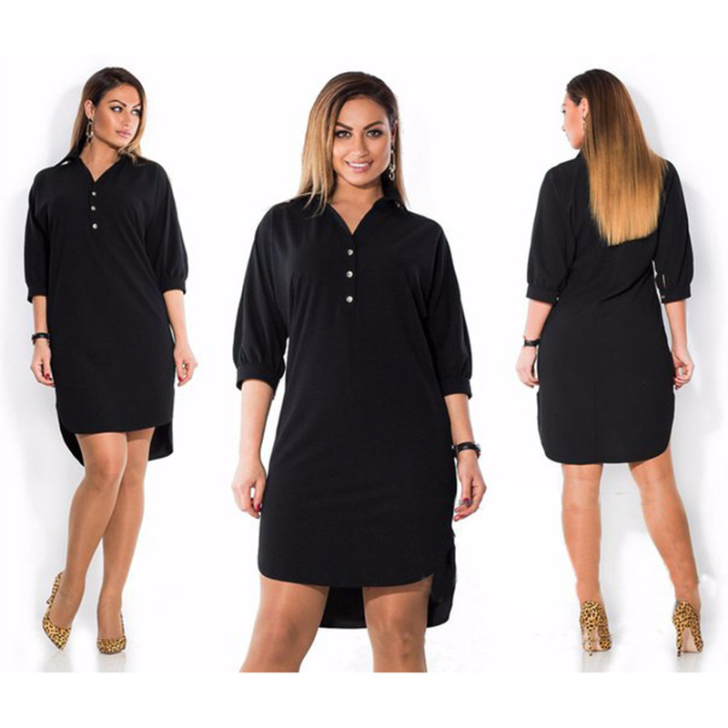 Oversized Shirt Dress Women Casual Clothes Summer Autumn 3/4 Sleeve Solid Color Irregular Dress 5XL 6XL Plus Size Lady Vestidos