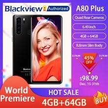 """Smartphone Blackview A80 Plus, Android 10, écran 6,49"""", 4 Go RAM, 64 Go ROM, octa core, NFC, 4680 mAh, MT6762V/WD"""