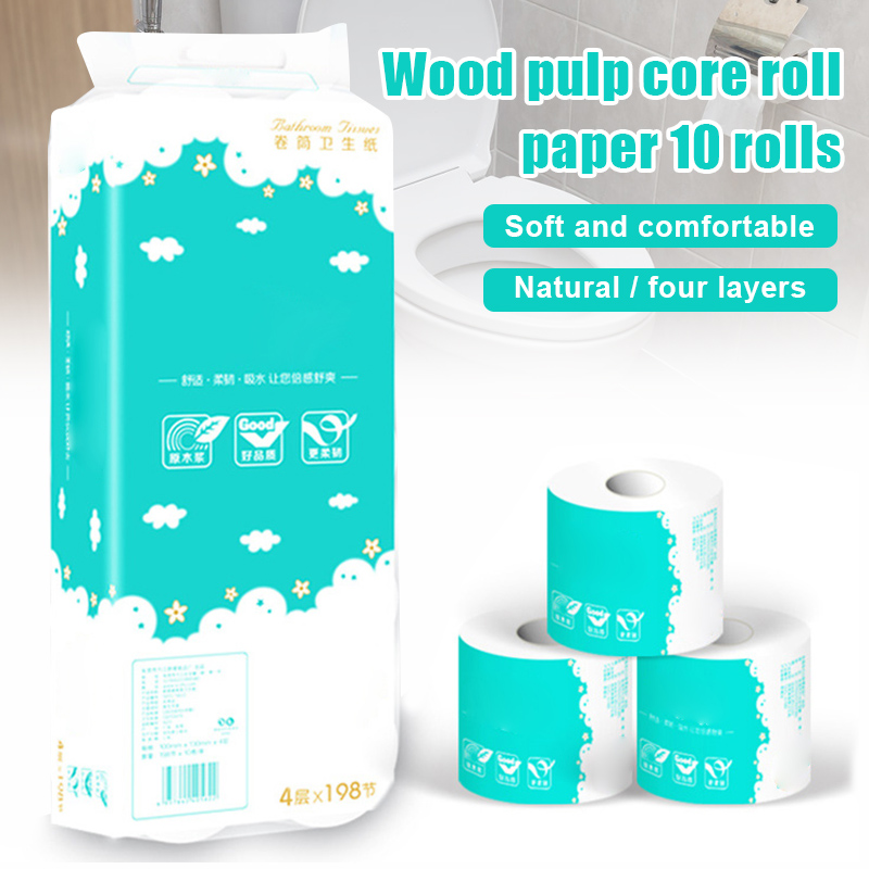 Hot 10 Roll Toilet Paper Roll Bath Tissue Bathroom White Soft 4 Ply Paper Towel for Home New FKU66