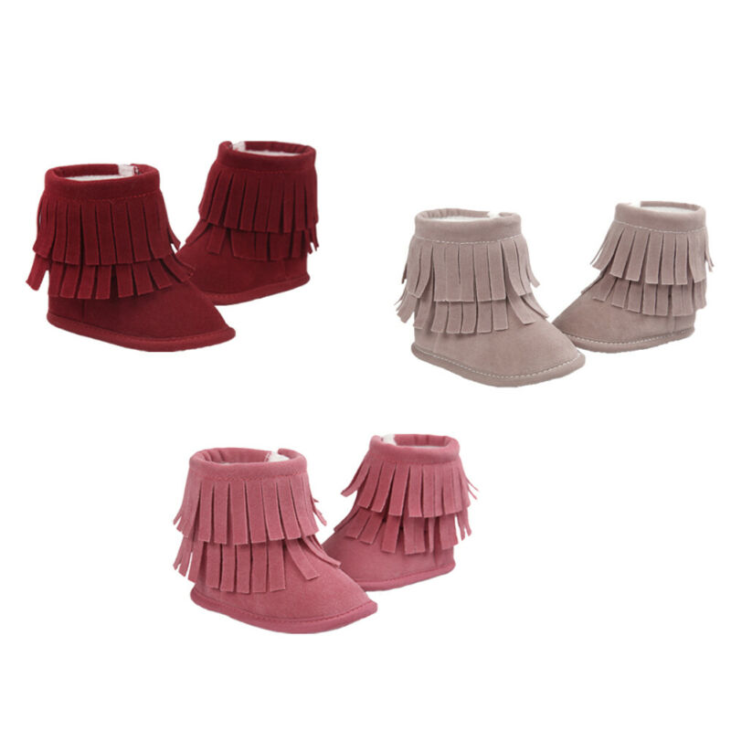Baby Infant Girls Shoes Fashion Winter Warm Tassel Boots Solid Color Newborn Toddler Soft Sole Shoes 3-12M