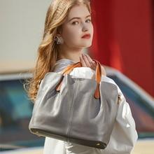new genuine leather large-capacity female bag fashion hit color first layer cowhide big bag shoulder messenger female bag цена 2017