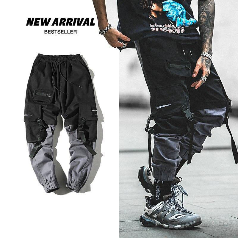 Streetwear Harem Joggers Men Ribbons Pockets Casual Mens Cargo Pants Hip Hop Cotton Casual Ankle-length Men Trousers