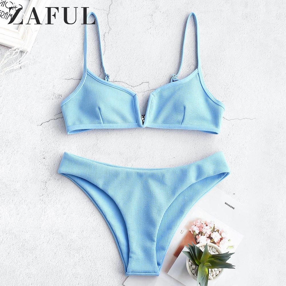 ZAFUL Ribbed V Wired Cami Bikini Set Solid Special Fabric V-Shaped Steel Split High-Cut Bikini Padded Bikini Two Pieces Swimsuit