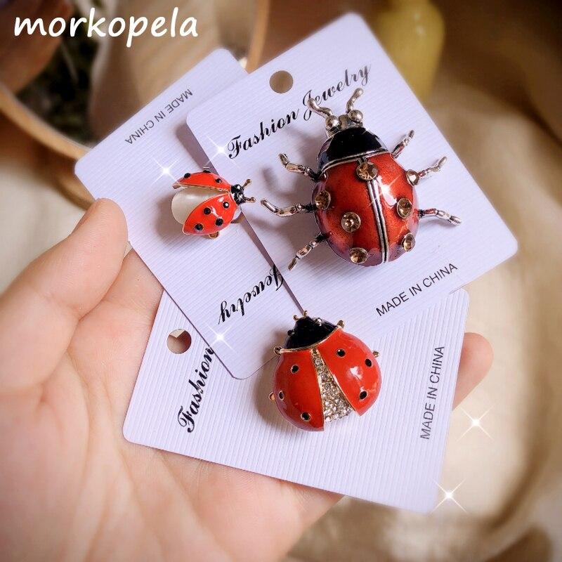 Morkopela ladybugs broche de esmalte, broche de insetos com strass, joias de metal para homens e mulheres, banquete de roupas para festa