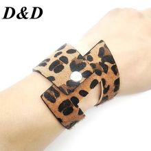 D&D New Hot Triangle Circle Fashion Leopard Print Wide Leather Bracelets Women Vintage Jewellery Cool Wholesale