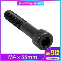 M4x55 25pcs Black Grade 12.9 Alloy Steel Blackening Hex Socket Head Cap Screw ( M4x55mm m4 55mm )