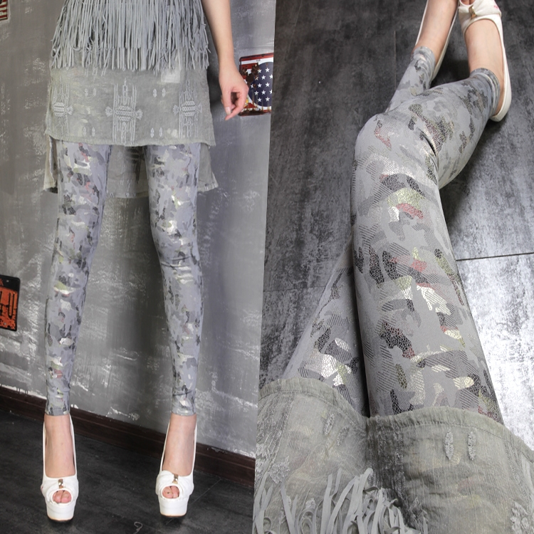 Womens Leggings Spring And Summer New Cool Fashion Camouflage Gray High Waist Stretch Leggings Thin Trousers Women's Leggins
