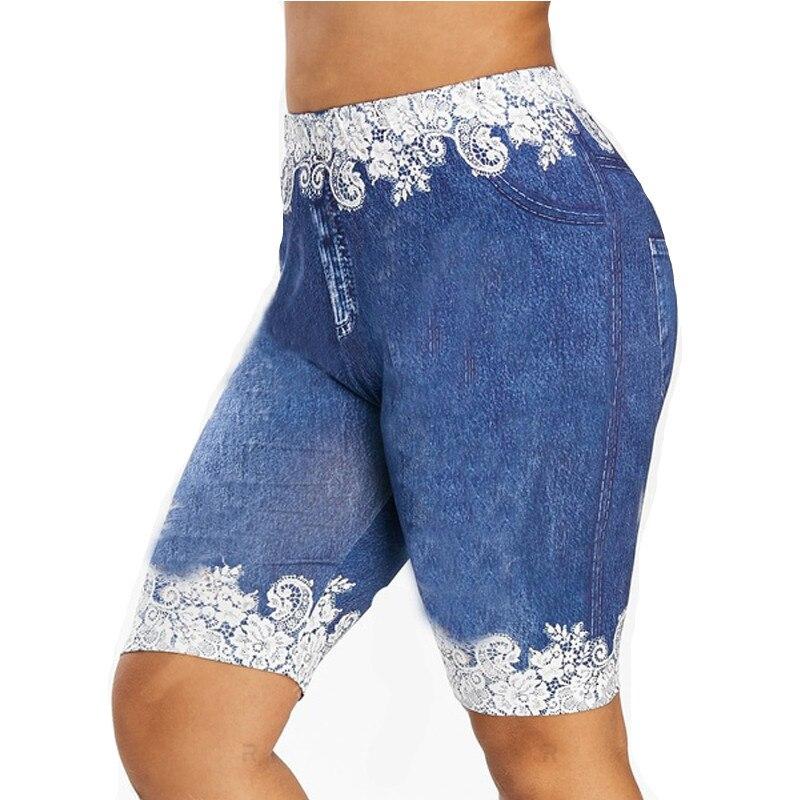 Muyogrt Print Lace Patching Short Leggings Women Fit Jeans Leggings High Waist Elastic Capri Pants Summer Breeches Faux Denim