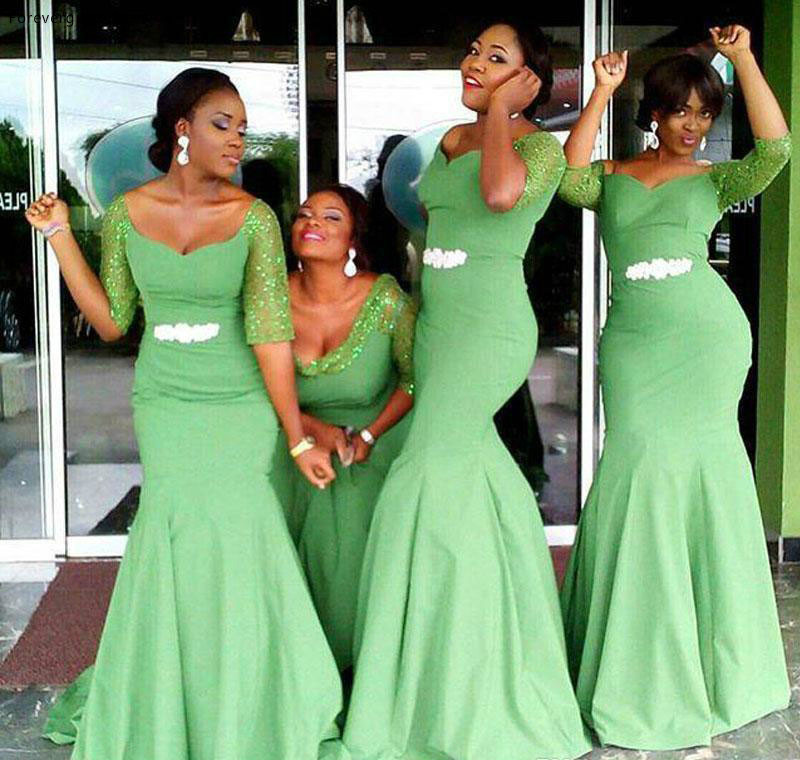 African Style Aqua Green Bridesmaid Dress Cheap Satin Garden Formal Wedding Party Guest Maid Of Honor Gown Plus Size Custom Made