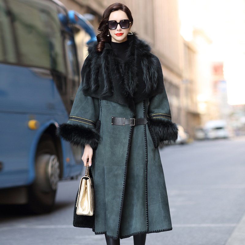 Winter Coat Women Sheep Shearing Real Fur Coat Women Fox Fur Collar Windbreaker For Womens Clothing Manteau Femme BT18Y151 YY736