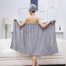 2pcs/set Towelling Bathrobe Bathroom Soft Microfiber Magic Absorbent Towel Beach Bathrobe Towels for Women Quick- Dry Bath Towel