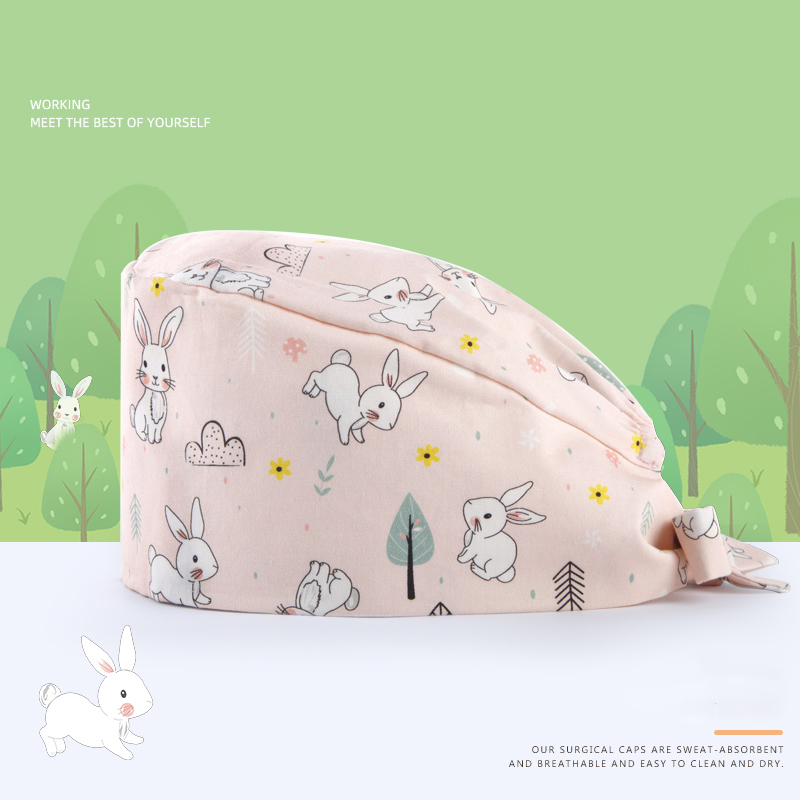 Rabbit Pink Surgical Caps Nurse Work Cap Medical Scrub Hat Chef Cooking Tieback Skull Caps 100% Cotton Sweatband Veterinary