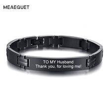 Personalisierte Edelstahl Ketten Armband Eingraviert Quoto Männlichen Armbänder Zu Meinem Ehemännern Geschenke Dropshipping Freies Gravur
