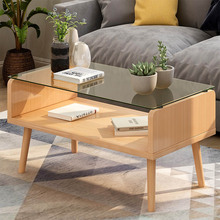 Glass Wooden Coffee Table Modern Minimalist Decoration Table Enough Storage Space Stable Durable  Noble Living Room Furniture