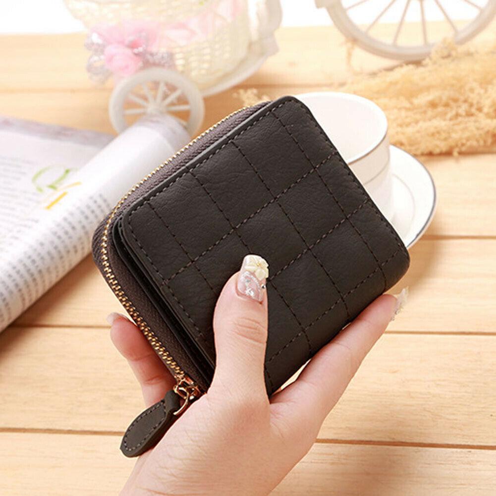 UK/_ EG/_ HK JF/_ Lady Faux Leather Short Wallet Plaid Lines Card Holder Mini Zipp