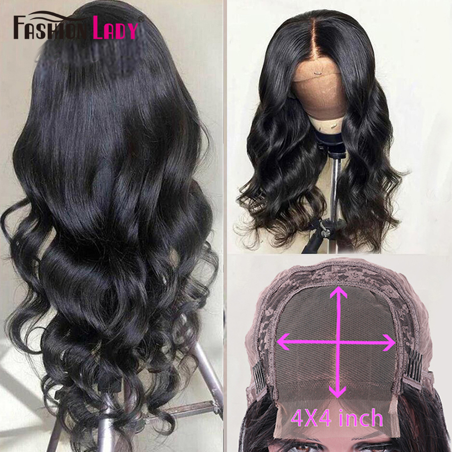 Fashion Lady Lace Closure Wigs Brazilian Body Wave Lace Wigs With Baby Hair 4x4inch Lace Closure Wigs For Women