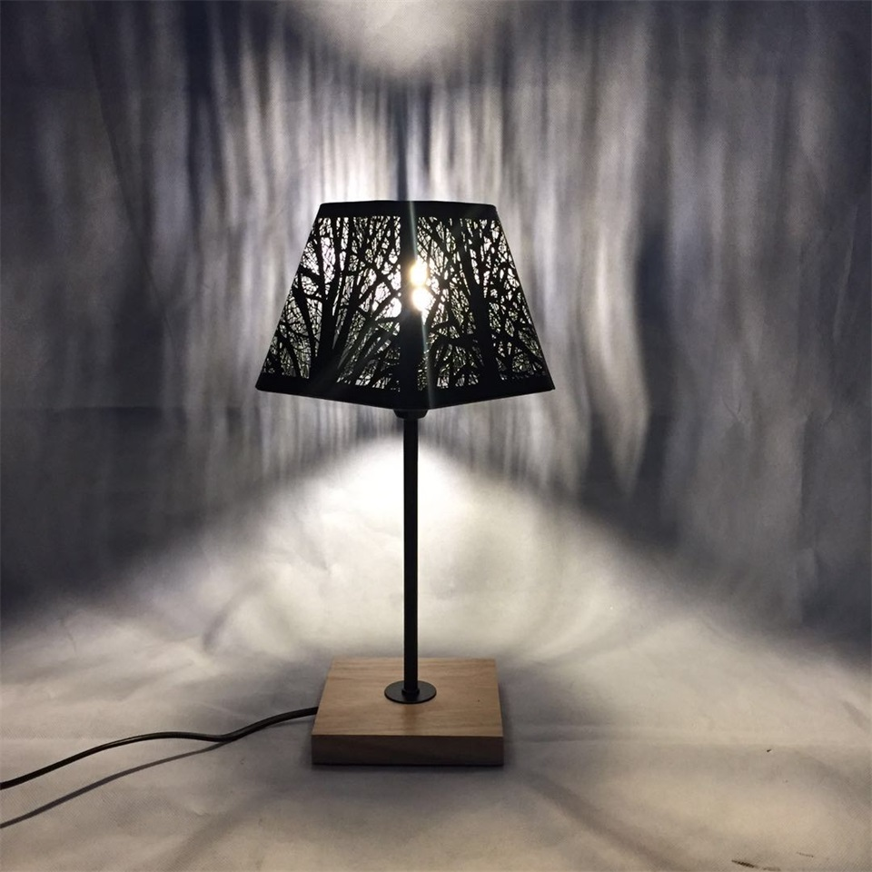 Image 5 - OYGROUP Modern Small Bedside Lamp with Wood Base Black Metal Stick and Hollow Lampshade E14 Table Lamp Room Decoration NO BULBTable Lamps   -