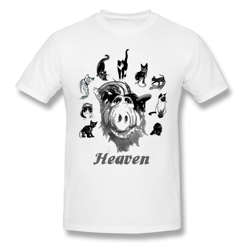 Pure Cotton Cartoon Heaven Alf T Shirt Male T Shirt Free Shipping O-neck  Camiseta O-neck Tee Shirts Oversize Streetwear For Men