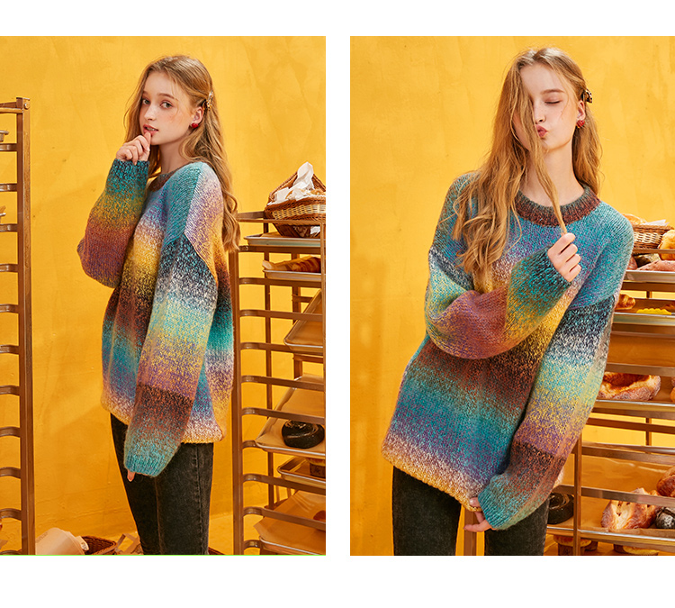 ELFSACK Rainbow Color Striped Women Sweater.19 Winter Fashion Sweet Gradient Ramp Knitted Tops Mohair Oversize Autumn Clothing 17