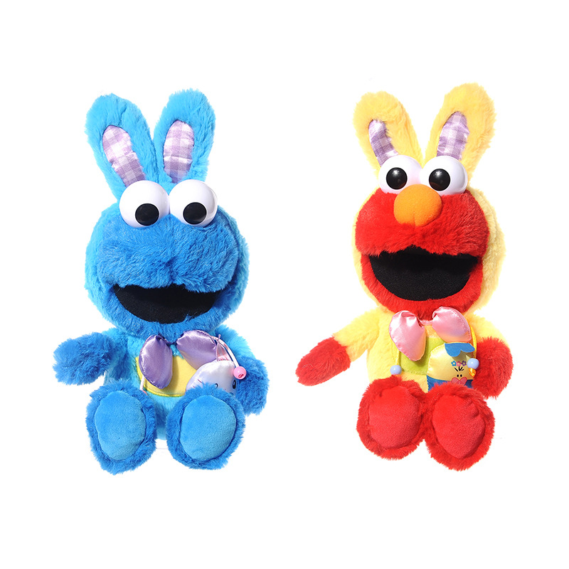 9 23CM New Sesame Street Easter Dress Up Rabbit Elmo Cookie Monster Plush Doll Plush toy children's gift image