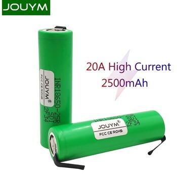 JOUYM 18650 bateria 2500mAh 3 7V INR18650 25R 20A rozładowania wysoki prąd spawania nikiel akumulator litowo-jonowy tanie i dobre opinie Li-ion NONE CN (pochodzenie) Tylko baterie 1-10pcs