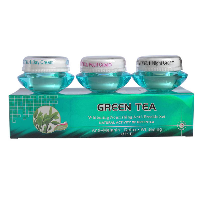 FEIQUE Green Tea Whitening Nourishing Anti Freckle Set Whitening Cream For Face Day Cream+night Cream+pearl Cream 4sets/lot