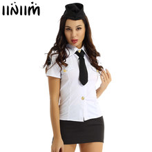 Womens Sexy Cop Police Officer Uniforms Adult Erotic Policewoman Costume Halloween Cosplay Costume Rave Party Role Play Outfits(China)
