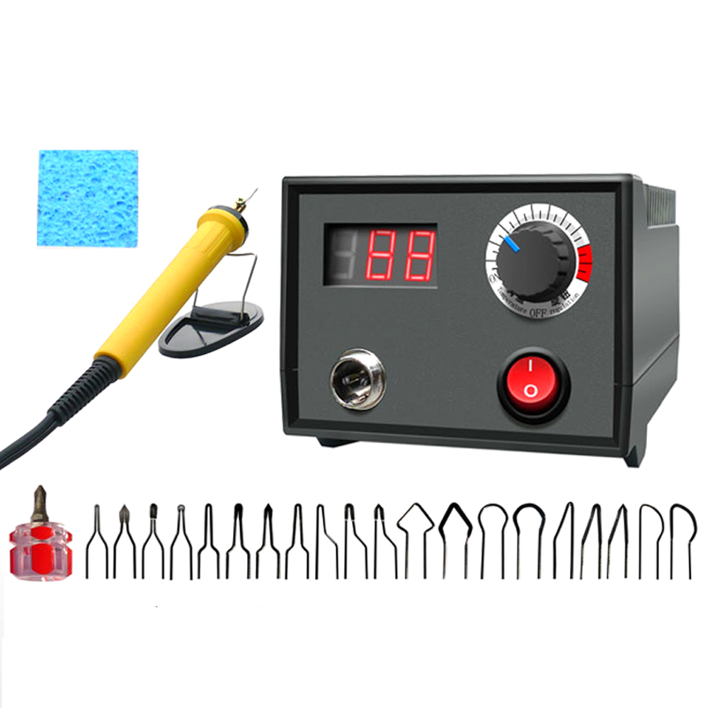 110V / 220V Adjustable Temperature Wood Burner Pyrography Pen Burning Machine Gourd Crafts Tool Set With Welding Wire 30W