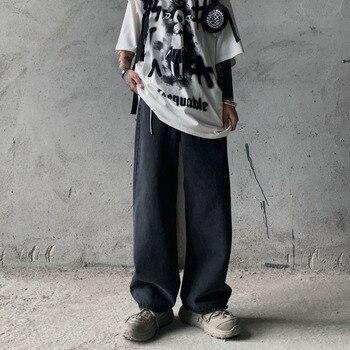 Korean Straight Jeans Men's Fashion Washed Casual Retro Jeans Pants Men Streetwear Wild Loose Hip Hop Denim Trousers Mens straight jeans men s fashion washed casual retro ripped jeans pants men streetwear wild loose hip hop ripped denim trousers mens