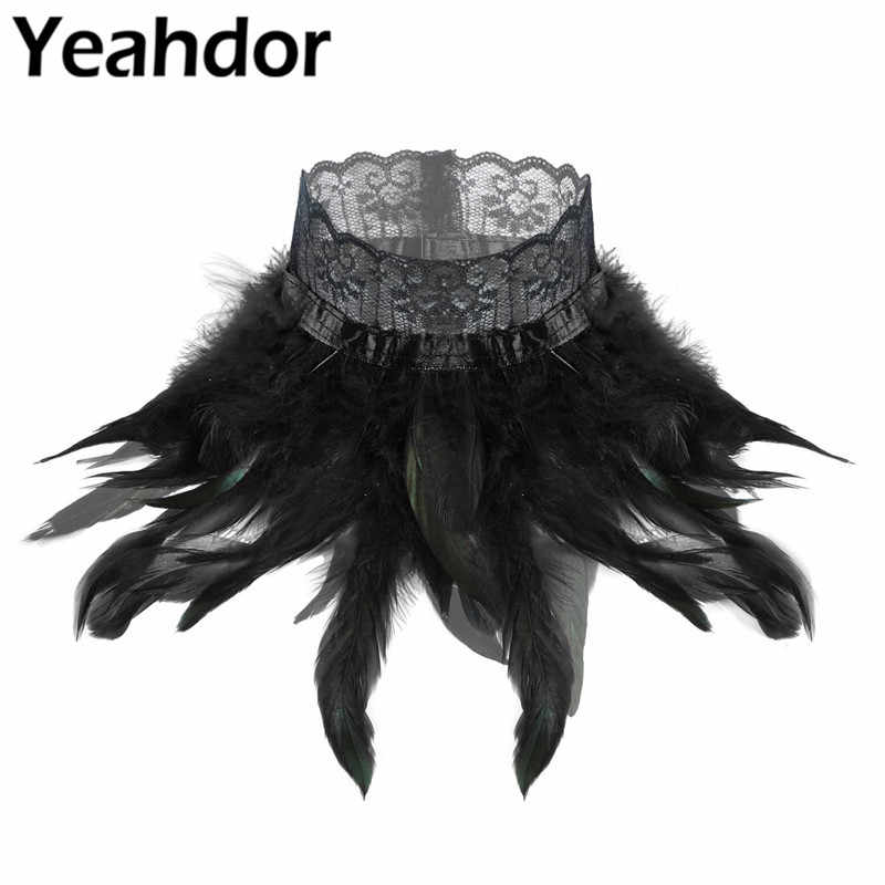 Womens Gothic Victoriaanse Natuurlijke Veren Kant Choker Hals Wrap Kraag Stage Performance Masquerade Cosplay Kostuum Accessoires
