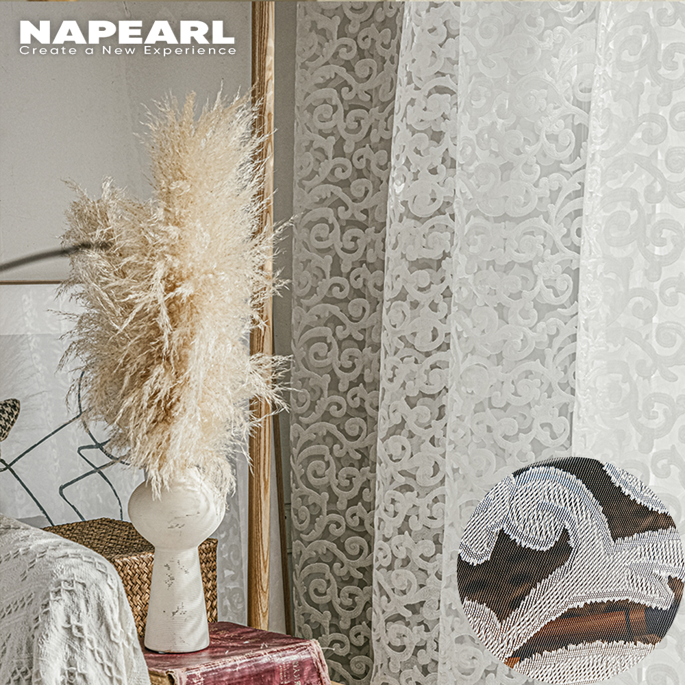 NAPEARL-tissu jacquard de style européen, décoration d'intérieur moderne, tulle, panneau transparent en organza blanc, traitement de fenêtre
