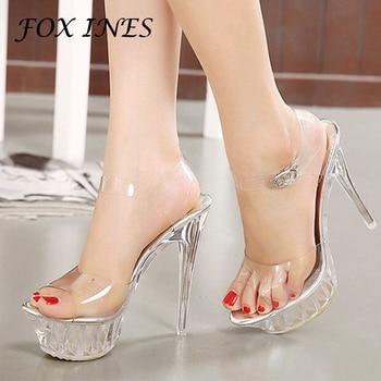 New Women Sandals PVC Crystal Heel Transparent Night Club Sexy Clear High Heels Summer Pumps Platform Shoes