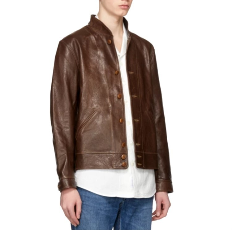 Free Shipping,Classic Cossack Genuine Jacket,Einstein Brown Short Style Cowhide Jacket.vintage Slim Leather Coat