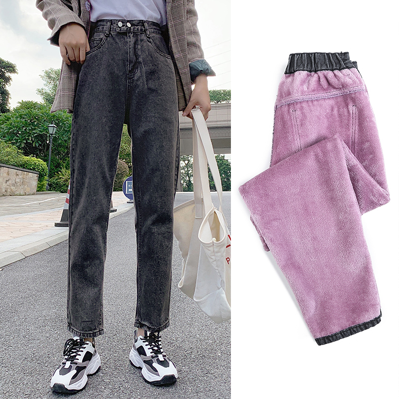 GUUZYUVIZ Casual Jeans Woman Plus Velvet Denim Pants Ladies Winter High Waist Jean Femme Plus Size Vintage Vaqueros Mujer